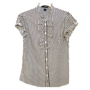 Gap Striped Ruffled Short Sleeve Button Up